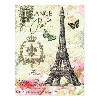 Carte Postale Tour Eiffel français vintage moderne