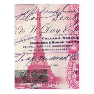 Carte Postale Tour Eiffel girly de Paris de Français rose floral