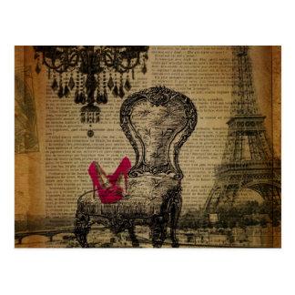 Carte Postale Tour Eiffel rococo baroque de Paris de lustre