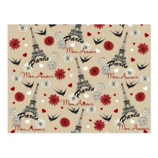 Carte Postale Tour Eiffel romantique mignon, coeurs, fleurs