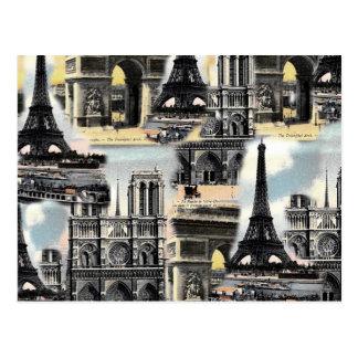 Carte Postale Tour Eiffel vintage de collage de voyage de Paris