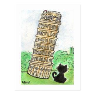 Carte Postale Tour penchée de conversation Noir de chat noir