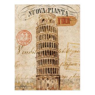 Carte Postale Tour penchée vintage de Pise