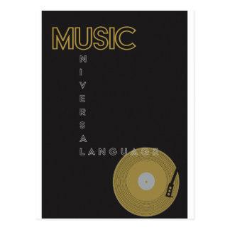 Carte Postale Tourne-disque d'affiche vintage de musique