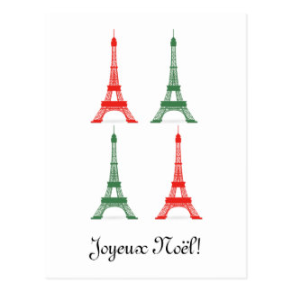 Carte Postale Tours Eiffel français de thème de Noël rouge et