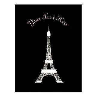 Carte Postale Tours Eiffel français noirs et blancs chics de