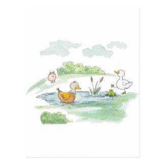 Carte Postale Tout autour de la basse-cour - canards par
