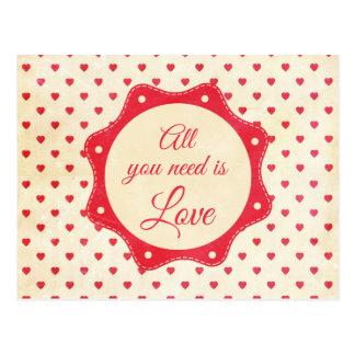 Carte Postale Tout que vous avez besoin est amour