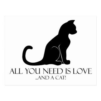 Carte Postale Tout que vous avez besoin est amour et un chat !