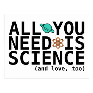 Carte Postale Tout que vous avez besoin est la Science (et