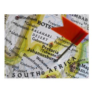 Carte Postale Tracez la goupille placée à Johannesburg, Afrique
