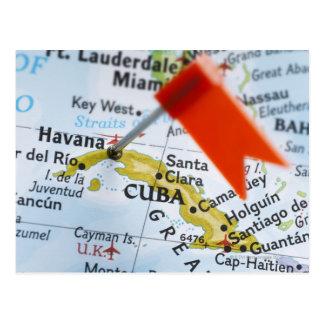 Carte Postale Tracez la goupille placée à La Havane, Cuba sur la