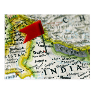 Carte Postale Tracez la goupille placée à New Delhi, Inde sur la