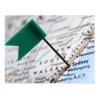 Carte Postale Tracez la goupille placée à Sydney, Australie sur