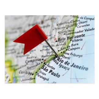 Carte Postale Tracez la goupille placée dans le Rio de Janeiro,