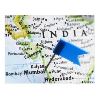 Carte Postale Tracez la goupille placée dans Mumbai, Inde sur la