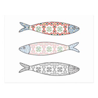 Carte Postale Traditional Portuguese icon. Colored sardines