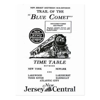 Carte Postale Train bleu central de comète de New Jersey