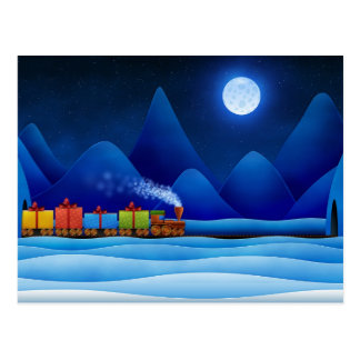 Carte Postale Train de Noël