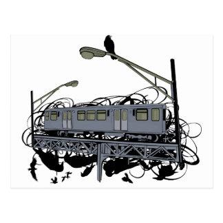 Carte Postale Train illustré et corneilles d'EL