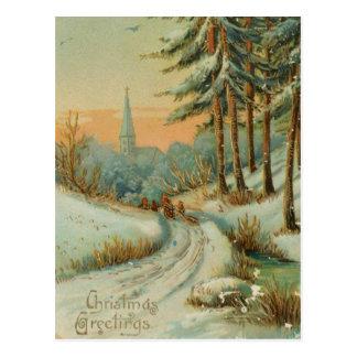 Carte Postale Traînée vintage de neige de Noël