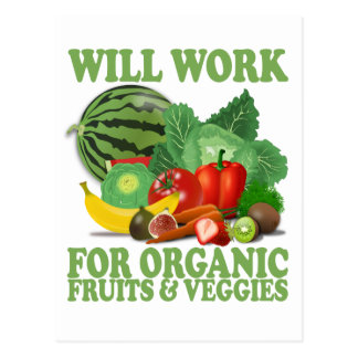 Carte Postale Travaillera pour les fruits et le légume