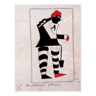 Carte Postale Travailleur attentif de Kazimir Malevich-