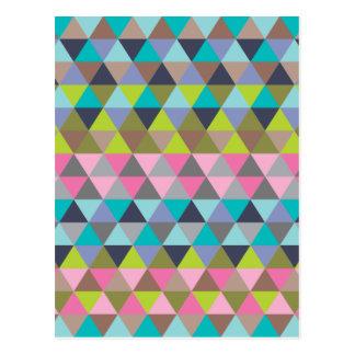 Carte Postale Triangles en verts et roses de bleus