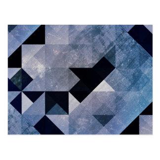 Carte Postale Triangles et diamants géométriques de bleu des