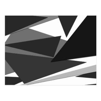 Carte Postale Triangles géométriques noires, grises, et blanches