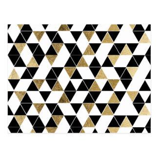 Carte Postale Triangles modernes noires, blanches, et de Faux