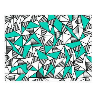 Carte Postale Triangles rayées modernes de Teal, de noir, et