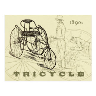Carte Postale Tricycle tôt de 1890s