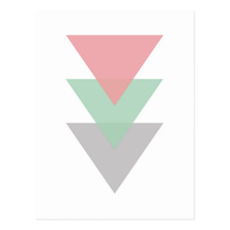 Carte Postale Trio coloré par pastel minimal des triangles
