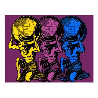 Carte postale triple d'atlas