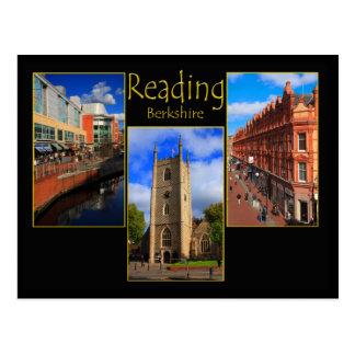 Carte postale triple de vue de la lecture,