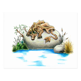 Carte postale triste de dragon de petite pierre