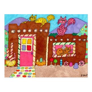 Carte Postale Trois chats à une Chambre de pain d'épice d'Adobe