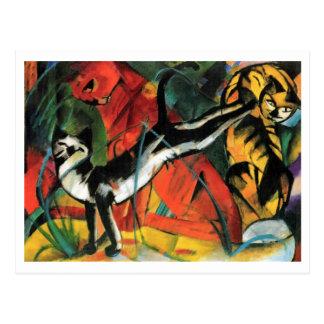 Carte Postale Trois chats par Franz Marc