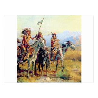Carte Postale trois Indiens montés