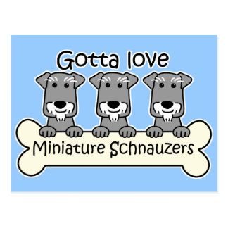 Carte Postale Trois Schnauzers miniatures
