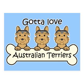 Carte Postale Trois terriers australiens