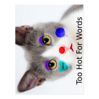 """Carte Postale """"Trop chaud chat pour mots"""" avec le maquillage de"""