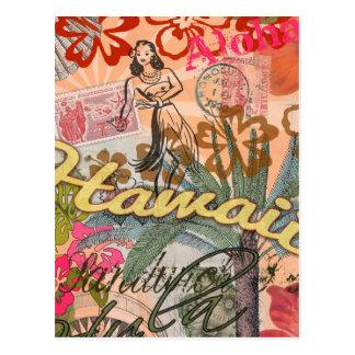 Carte Postale Tropical hawaïen coloré de voyage vintage d'Hawaï