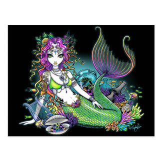 Carte postale tropicale d'art de sirène