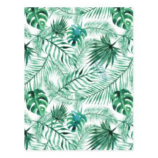 Carte postale tropicale de motif de feuille de