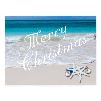 Carte postale tropicale de plage d'océan de Joyeux