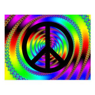 Carte Postale Trou de ver avec le signe de paix noir