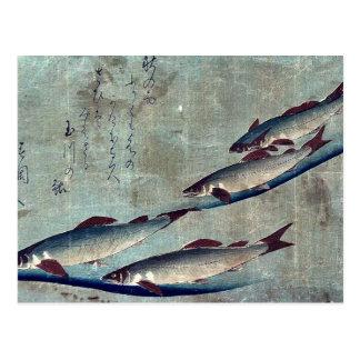 Carte Postale Truite de rivière (Ayu) par Andō, Hiroshige