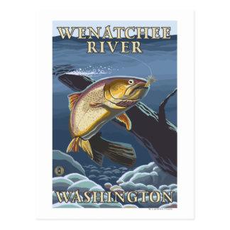 Carte Postale Truite pêchant la section transversale - rivière